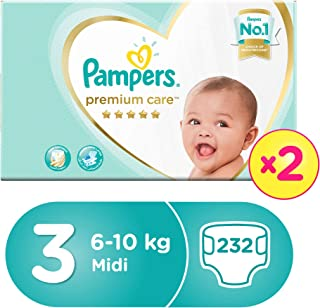 Pampers Premium Care Diapers, Size 3, Midi, 6-10 kg, Double Mega Box, 232 Count
