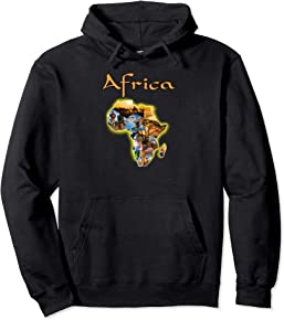 World of Africa Map Pullover Hoodie