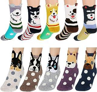 10 Pairs Women Cute Animal Socks Dog Fun Casual Socks Colorful Cotton Crew Socks