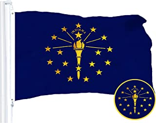 G128 – Indiana State Flag | 3x5 feet | Embroidered 210D – Indoor/Outdoor, Vibrant Colors, Brass Grommets, Quality Polyester