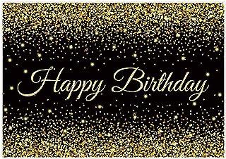 Shiny Birthday, schwarz/goldfarben, 7'x5'