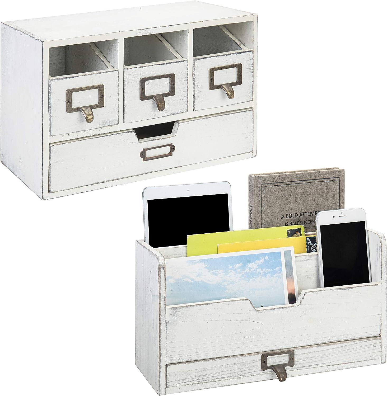 MyGift Vintage White Wood Desktop 3-Slot Sor Set Manufacturer regenerated product Los Angeles Mall Organizer Mail