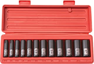 TEKTON 3/8-Inch Drive Deep Impact Socket Set, Inch, Cr-V, 12-Point, 5/16-Inch - 1-Inch, 12-Sockets | 47921