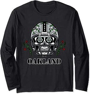 Oakland Football Helmet Sugar Skull Day Of The Dead Long Sleeve T-Shirt