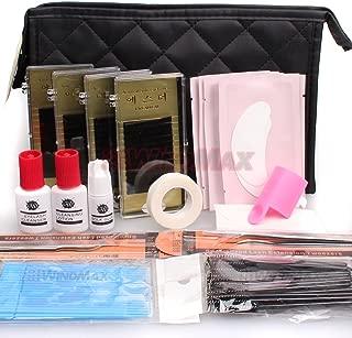 Ships From CA, USA WonderLash Starter Kit Pro Semi Permanent Individual Eyelash Extensions C Curl Eyelahes Lashes Graft Glue Tweezers Cleansing Lotion (A)