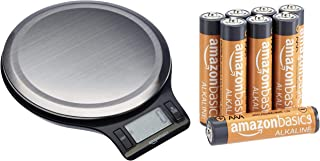 AmazonBasics Stainless Steel Digital Kitchen Scale with LCD Display (Batteries Included), 5Kg (Black)+AmazonBasics AAA Performance Alkaline Non-Rechargeable Batteries (8-Pack) - Appearance May Vary