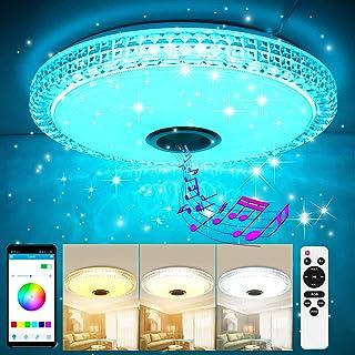 GGHKDD - Lámpara LED de techo con altavoz Bluetooth, regulable, cambio de color con mando a distancia y control por aplicación, 36 W, 3000 – 6500 K, para dormitorio, cocina, salón, redonda, 45 cm