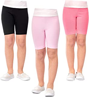 DEAR SPARKLE Girls' Shorts Bike Shorts 3 Pack Girl Stretch Kids Toddler Short + Hair Ties (G3)