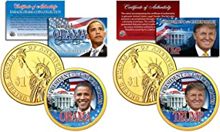 TRUMP & OBAMA U.S Mint Colorized PRESDIENTIAL $1 Dollar Coins + 3rd Coin FREE