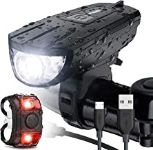Vont 'Breeze' Bike Light Set, USB Rechargeable Bicycle Light, Instant Install, Fits All Bikes - 3 Modes, Bike Lights Front and Back Illumination - Waterproof, Lightweight, Durable