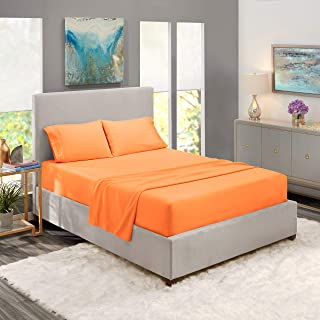 Nestl Bedding Hypoallergenic & Wrinkle Free Bedroom Linen Bed Sheet Set, Queen Size. Apricot Buff Orange