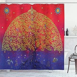 Ambesonne Ethnic Shower Curtain, Bodhi Tree of Life Themed Eastern Growth Artwork Print, Cloth Fabric Bathroom Decor Set with Hooks, 70