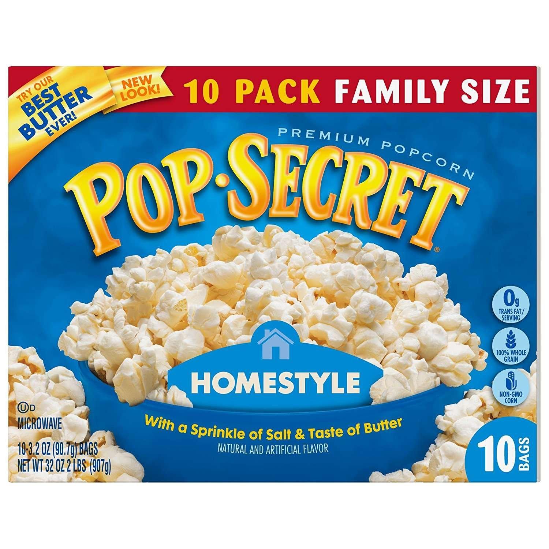 New color Pop Secret Popcorn Homestyle Box Ounces 32 10-Count online shopping