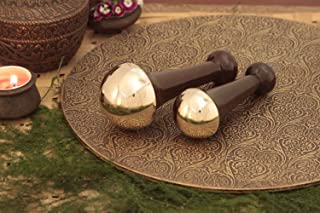 Kansa Wand Authentic Bronze Capped Massager Wooden Handle Ayurvedic Treatment - size - Medium & Small