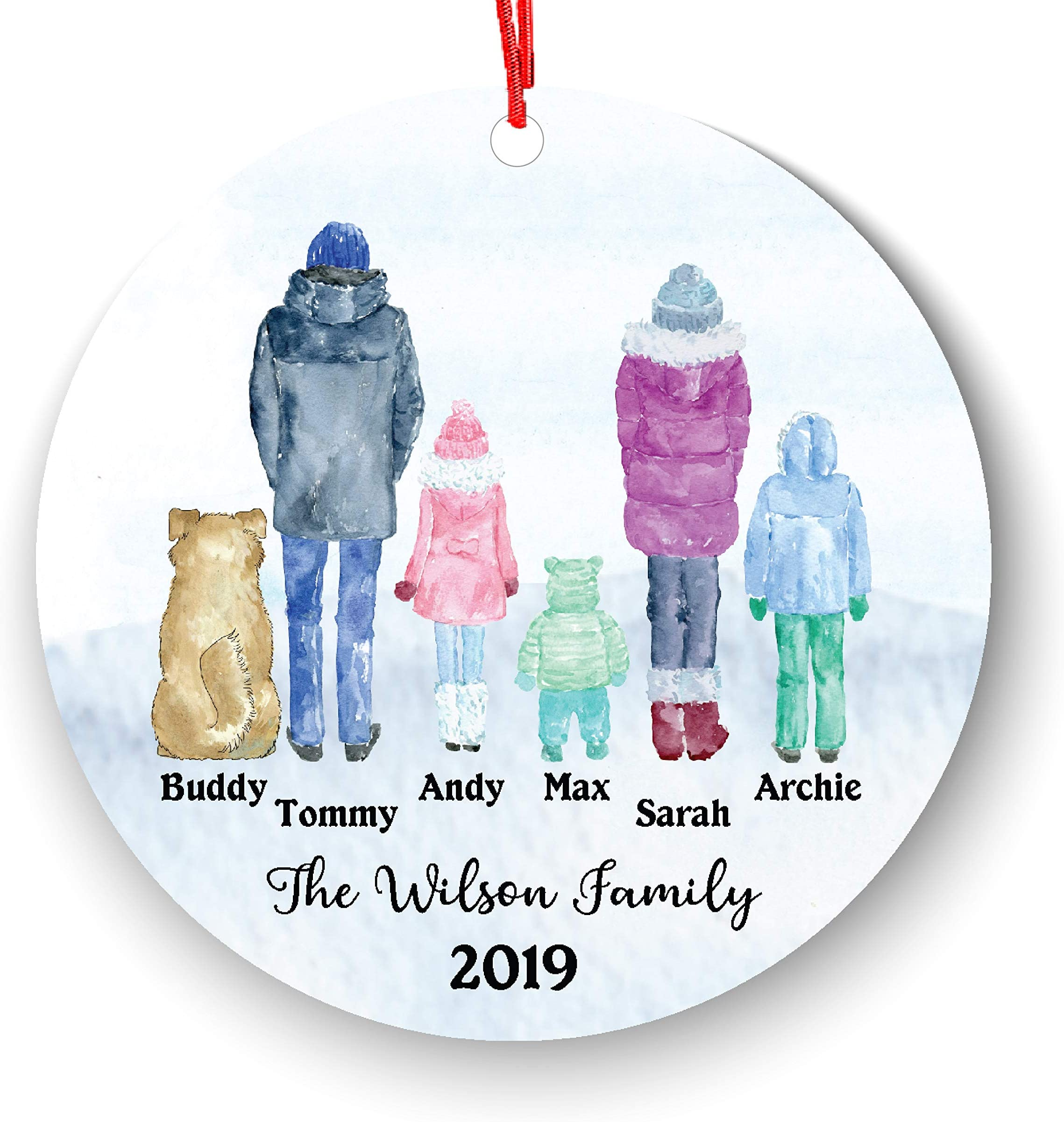Personalized Family 5 6 Children Boy Girl Kids Baby with Pet Dog Cat Owner Christmas Ornament Parents Pet Lover Gifts Custom Portrait Fur Mom Dad with Beautiful Snow Scene (Family of 5 with pet)