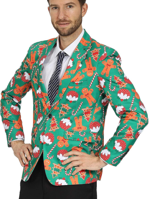 WEEN CHARM Mens Christmas Print Blazer Chris Fit Slim Button Regular discount cheap Two