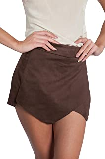 Womens Brown Suede Faux Wrap Skort by Necessary Objects