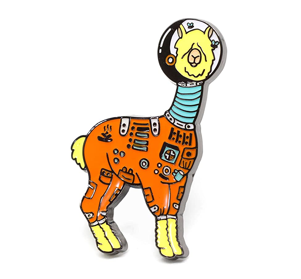 Compoco Llama Astronaut Lapel Pin in a Spacesuit with Flies Flying Inside The Helmet