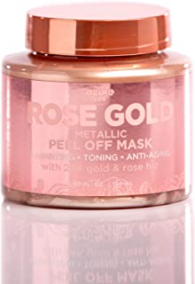 Rose Gold Metallic Sparkling Peel Off Moisturizing Mask - Reduces Wrinkles, Fine Lines & Acne Scars   Removes Blackheads & Dirt and Oil   Repairs Uneven Skin Tone - 150mL