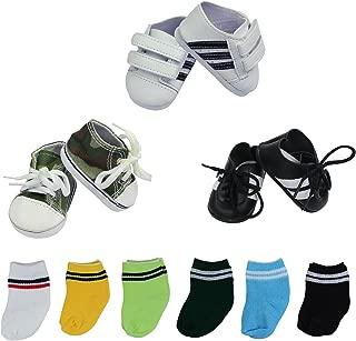 ZITA ELEMENT Lot 9 Handmade Doll Shoes and Socks for American 18 inch Girl Boy Doll - 3 Shoes and 6 Socks