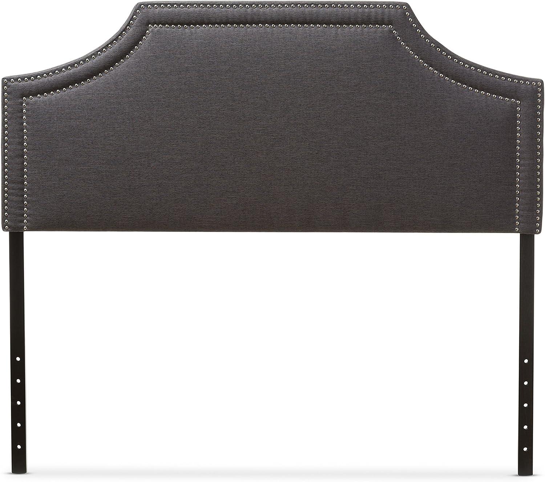 Baxton Studio Guilford Modern & Contemporary Fabric Upholstered Headboard, Full, Dark Grey