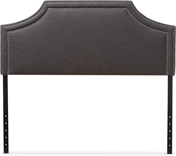 Baxton Studio Guifford Modern Contemporary Fabric Upholstered Headboard Queen Dark Grey