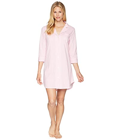 LAUREN Ralph Lauren Essentials Bingham Knits Sleep Shirt (Pink/White Stripe) Women
