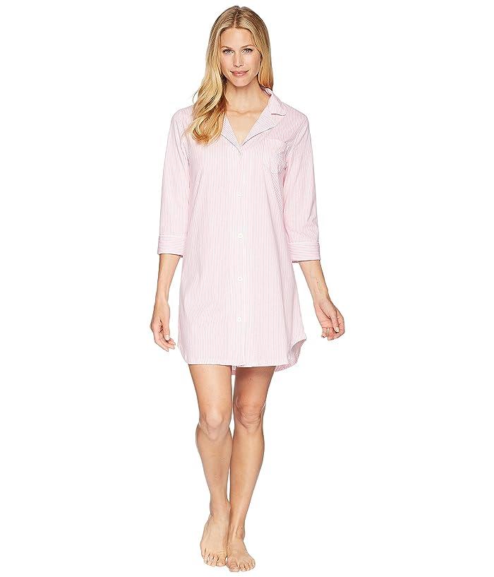 LAUREN Ralph Lauren Essentials Bingham Knits Sleep Shirt (Pink/White Stripe) Women