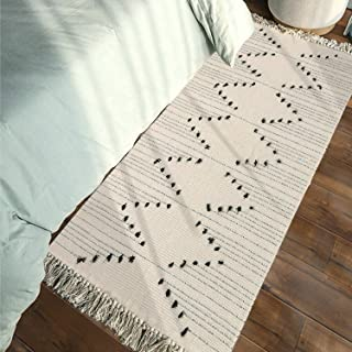 Moroccan Cotton Area Rug 2' x 4.3', KIMODE Woven Cream and Black Chic Diamond Tassels Throw Rugs Machine Washable Fringe Area Rugs Runner for Bathroom,Bedroom,Living Room,Laundry Room Kitchen Rug