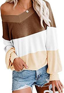 ETCYY Women's Off Shoulder Sweater Colorblock Batwing Sleeve LooseOversized Knit Pullover Tops