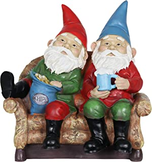 Exhart Funny Gnomes Couch Potatoes – Silly Solar Outdoor Statues of Lazy Gnomes Eating Chips & Drinking Beer w/Solar LED Accent Lights – Garden Gnomes, Solar Statues, Colorful Yard Décor