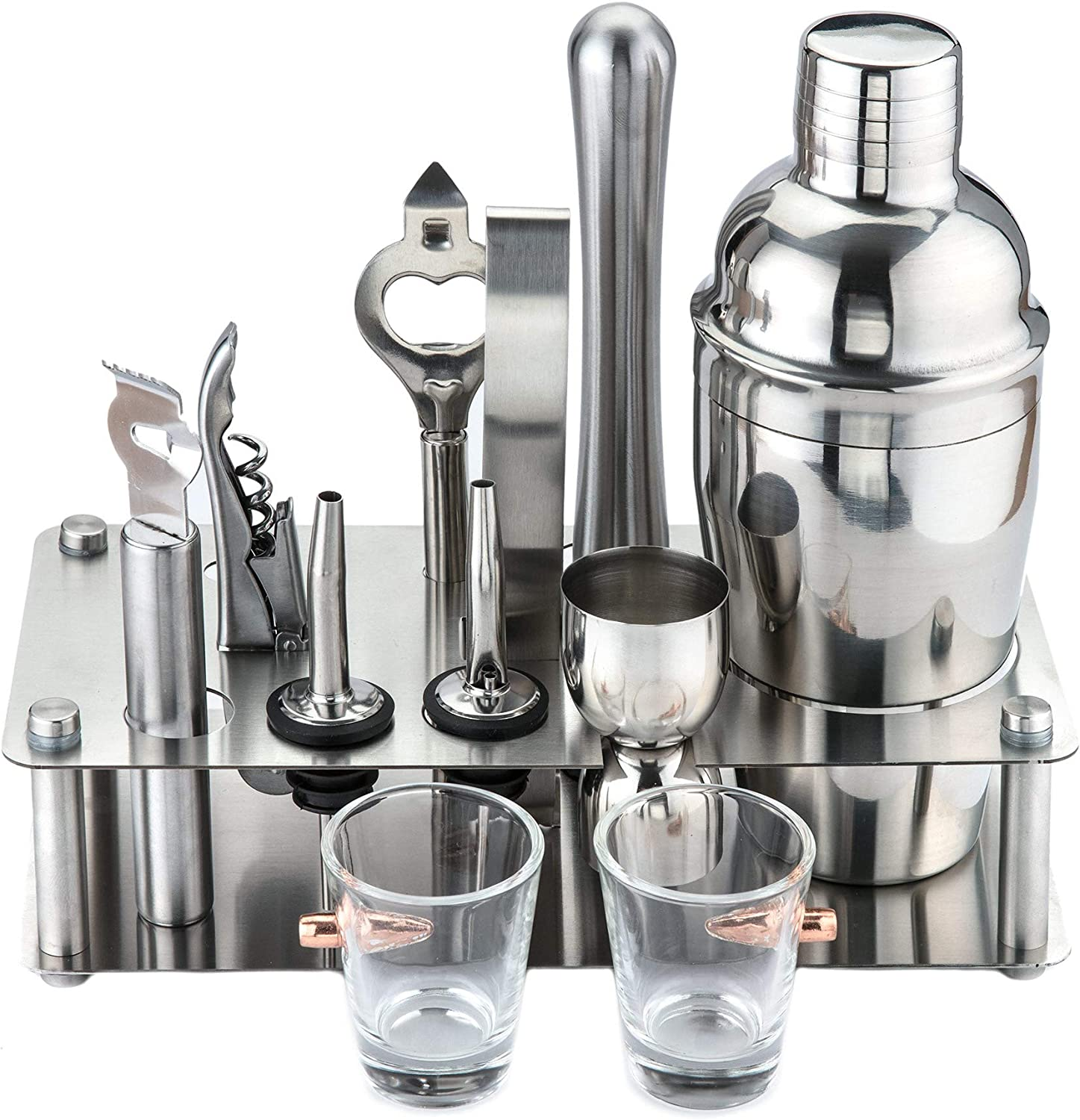 Bar set for the Home with FREE Bonus set of Bullet Shot Glasses   11 Piece Stainless Steel Cocktail Shaker Set is the Perfect Mixology Bartender Kit for a Home Bar Set