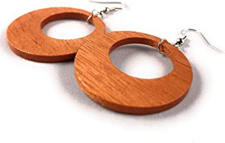 Fractal Woodworks Wooden Offset Hoop Earrings from Sustainable Mahogany Wood. Hypoallergenic. Made in USA.