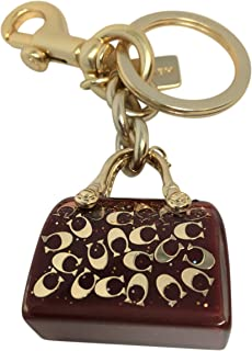 Coach Handbag Charm Key Chain True Red Gold F41412