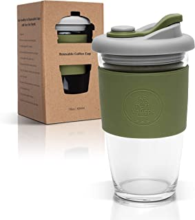 Mr.Cuppie Reusable Glass Coffee Cup, ToGo Travel Coffee Mug with Lid and Silicone Sleeve, Dishwasher and Microwave Safe, P...