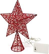 CVHOMEDECO. Red Tree Top Star with Warm White LED Lights and Timer for Christmas Ornaments and Holiday Seasonal Décor, 8-Inch