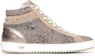 Nero Giardini P805082D Sneakers Alte Donna in Pelle, Camoscio E Tela