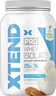 XTEND Pro Protein Powder Vanilla Ice Cream | 100% Whey Protein Isolate | Keto Friendly + 7g BCAAs with Natural Flavors | G...