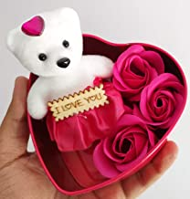 SillyMe Valentine Gift - 1 Cute Teddy with 3 Roses in Small Heart Shaped Box (Pink)