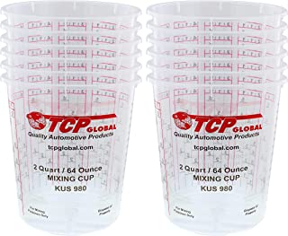 Custom Shop - Pack of 12-64 Ounce Graduated Paint Mixing Cups (2 Quarts) - Cups Have Calibrated Mixing Ratios on Side of C...