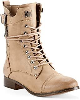 f9709443572 Yellow Shoes Music Womens Dress   Elegant Combat Boots - Casual    Comfortable - Made from Synthetic Leather with Burnished Finish - Med Shaft    Low Block ...