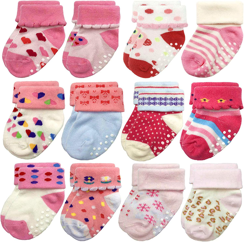 Baby Girl Socks for Infant Toddler with Grips Anti Slip Cotton