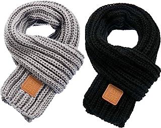 Zhanmai 2 Pieces Kids Winter Warm Knit Scarves Warm Scarf Neck Warmer for Toddlers Boys Girls