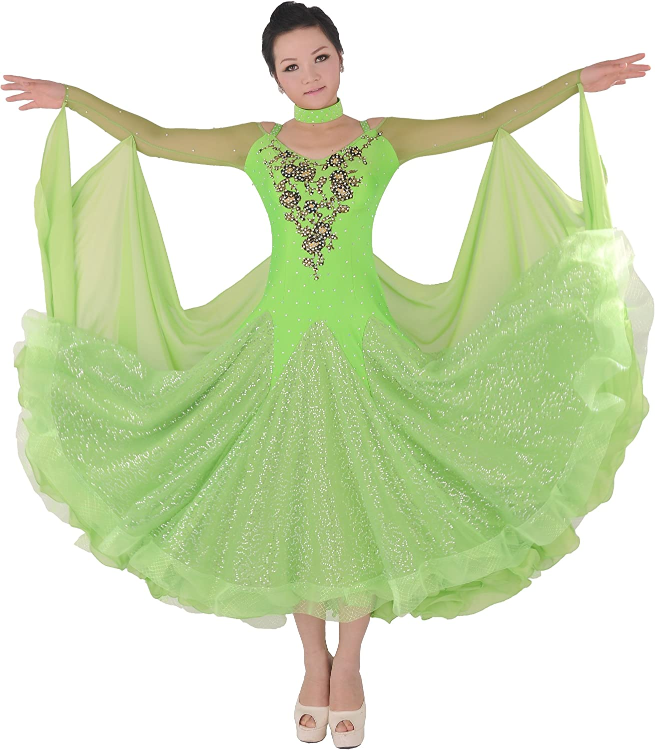 colorfulworldstore Tailored Women Waltz Tango Ballroom Modern Dance Dress Green