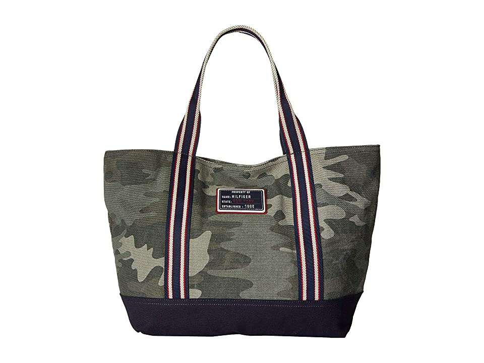 Tommy Hilfiger Classic Canvas Tote (Green) Tote Handbags
