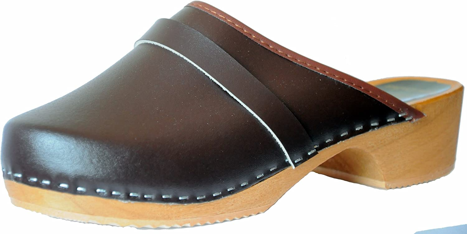 Marited Unisex-Adult Leather Wooden Clogs