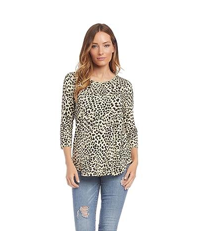Karen Kane 3/4 Sleeve Shirttail Top (Cheetah) Women