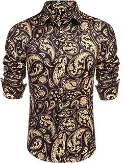 Mens Long Sleeve Fashion Luxury Design Print Dress Shirt