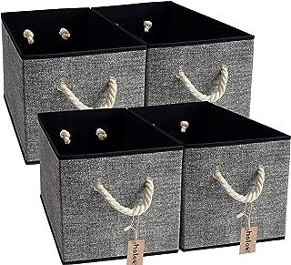 Holo Lot de 4 boîtes de rangement pliables avec poignées en coton Noir / gris