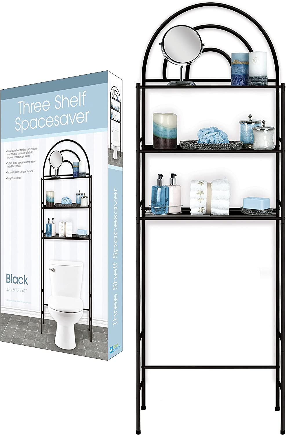 DINY Home Collections 3 Shelf Over The Toilet Spacesaver Easy to Assemble Black Metal